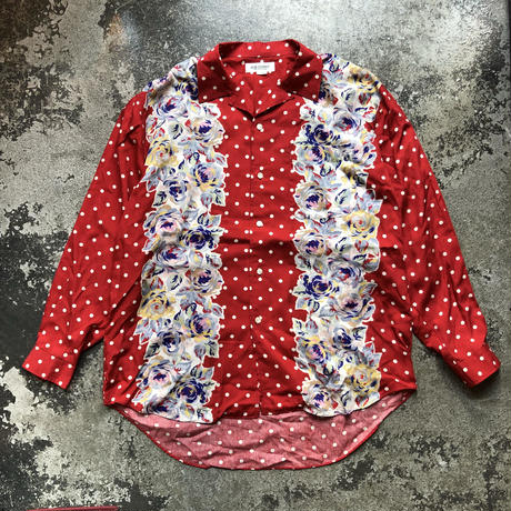 used BUB JOHNNY DOT FLOWER PRINT LONG SLEEVE SH