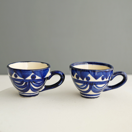 Vintage/France 青絵付の小さな双子カップ 2個セット