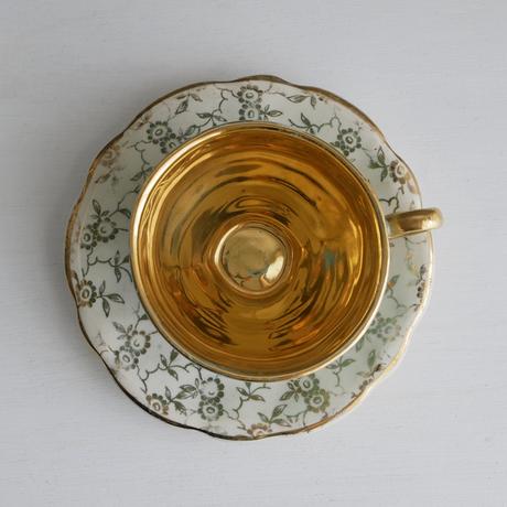 Vintage/England ミント色のデミタスカップ&ソーサーB(欠有)