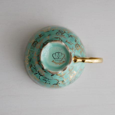 Vintage/England ミント色のデミタスカップ&ソーサーA(欠有)