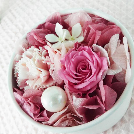 プリザーブド BOXアレンジメント/ラウンド 【pink】