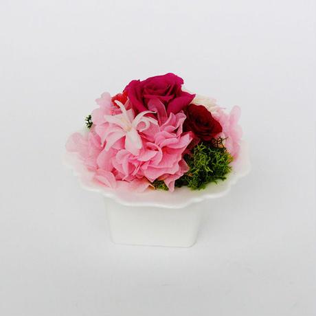 プリザーブドローズとアジサイの アレンジメント 【pink】