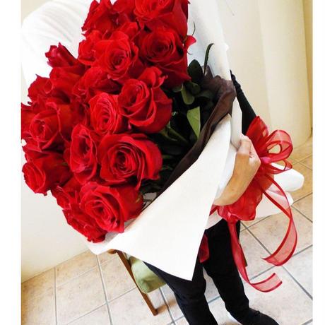 【生花】深紅のローズブーケ *シーンに合わせて本数をお選びください(660円/1本)