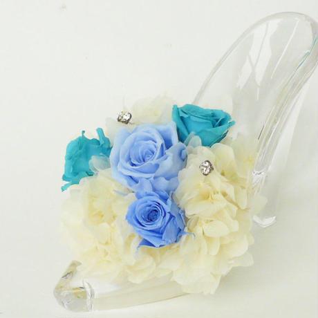 プリザーブドローズのガラスの靴アレンジメント【aqua blue】
