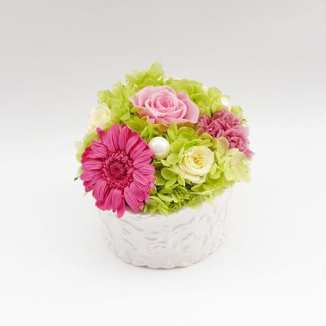 プリザーブドローズとガーベラのアレンジメント/白陶器【pink&green】