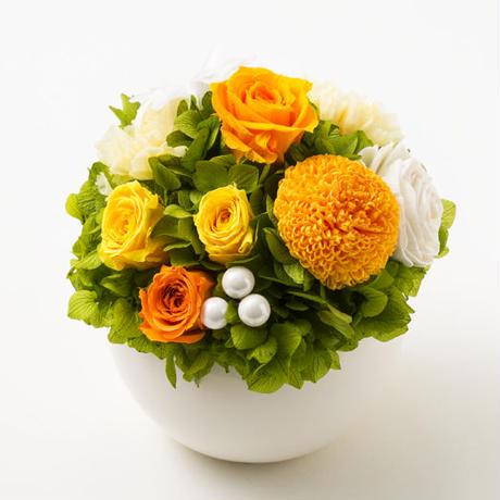 プリザーブドローズとマムのアレンジメント/ラウンド【golden orange】