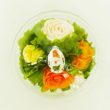 プリザーブドローズのドームアレンジメント【orange&green】