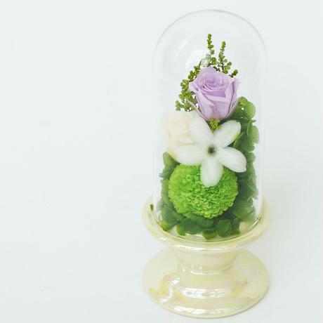 メモリアル プリザーブドローズのガラスアレンジメント【purple】