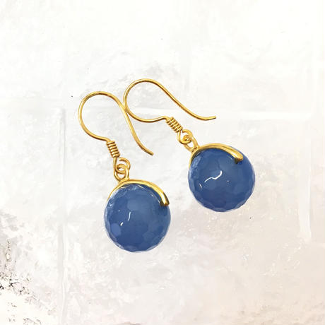 Blue Round Checkerboard Glass Earrings
