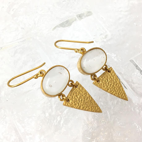 Textured Triangle Glass Earrings