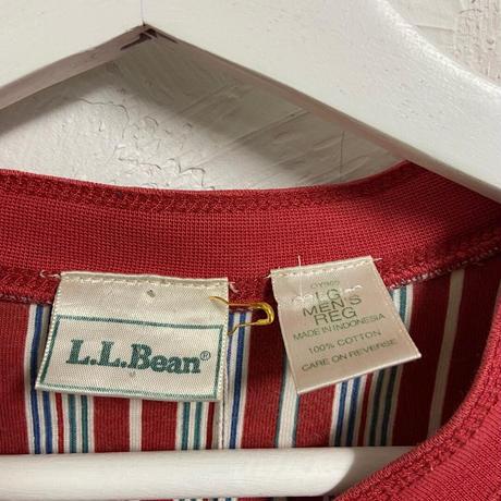 USED● L.L.Bean Stripe Henry Neck Tee エルエルビーン ストライプ ヘンリーネック Tシャツ