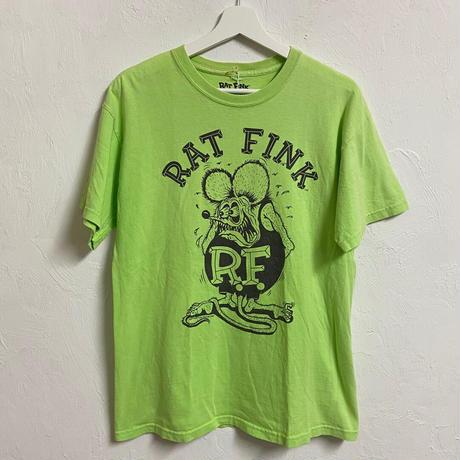 USED● 2008 RAT FINK ラットフィンク M 両面 プリント Tシャツ ライムグリーン