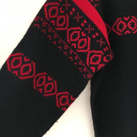 USED● ARROW Size M Nordic Acrylic Knit Sweater Black Red ノルディック セーター アクリル ビンテージ オールド
