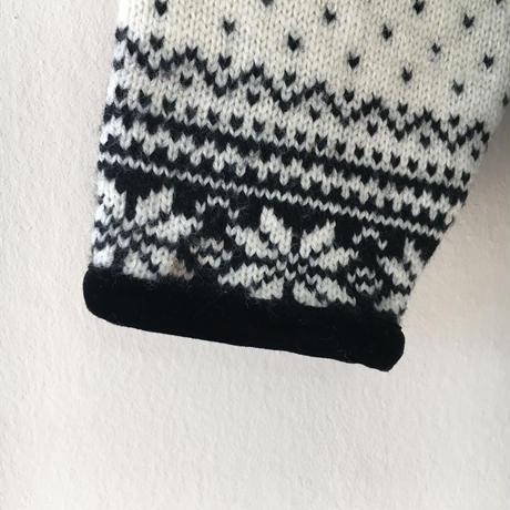 USED● Norm Thompbon SizeS Nordic Wool Zip Cardigan Black White ノルディック ウール カーディガン
