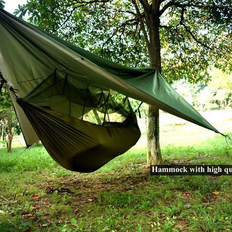 テント付きハンモック ミリタリーツリーテントメッシュポータブル用屋外キャンプ