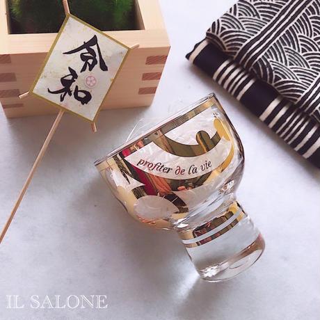 """ペアで♡""""人生を楽しむシリーズ""""ガラスのお猪口♡透明BOX入り♡"""