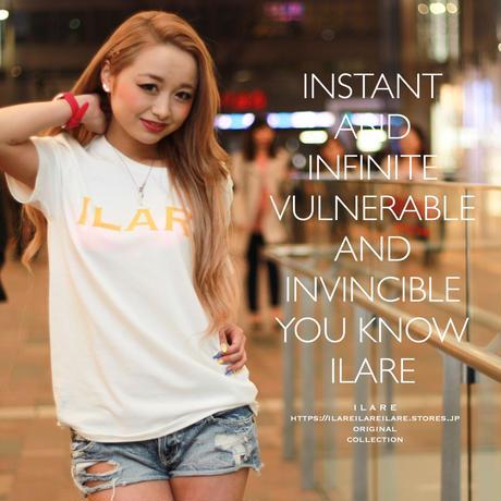 ILARE オリジナルロゴTシャツ /ホワイト×ゴールド
