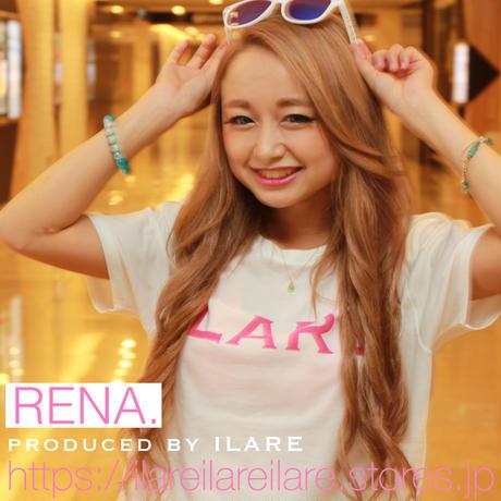 ILARE オリジナルロゴTシャツ/ホワイト×ピンク