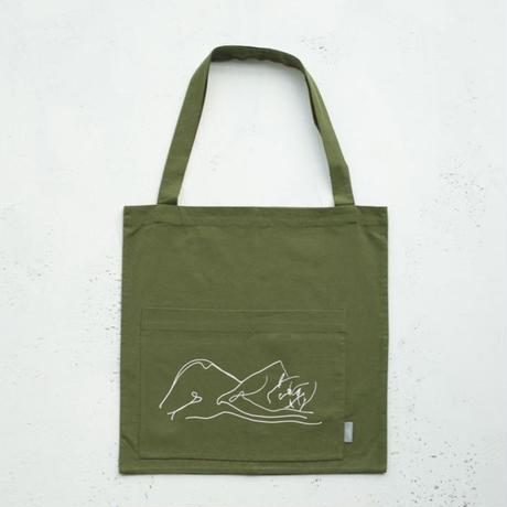"""alone""hand print tote bag"