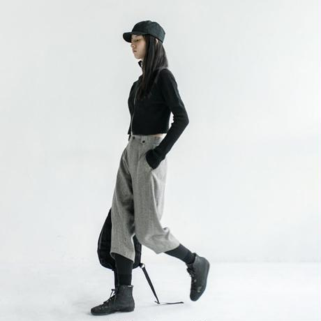 arc cut wool strip pants