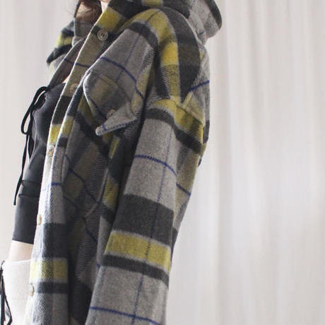 retro wool check jacket shirt