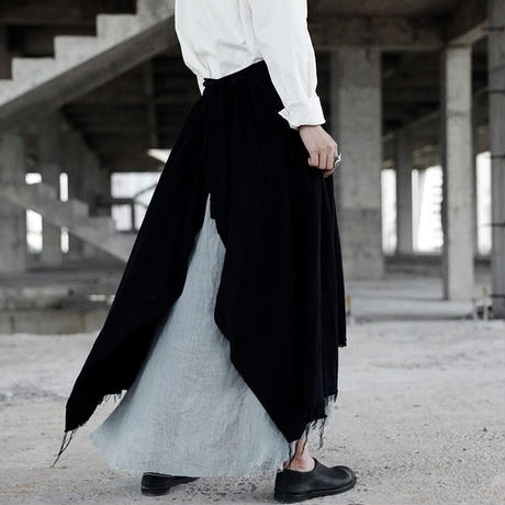 linen rough cut long skirts