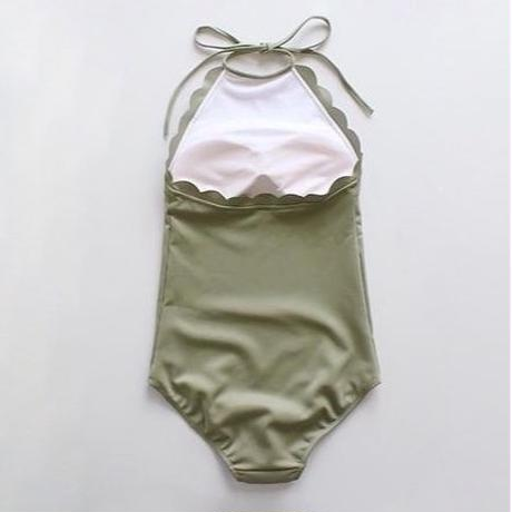 3color-scallop one-pieces swimsuit