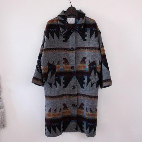 totem print wool coat