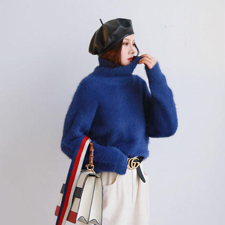 fog blue high-neck sweater