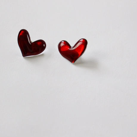 clear red heart earrings