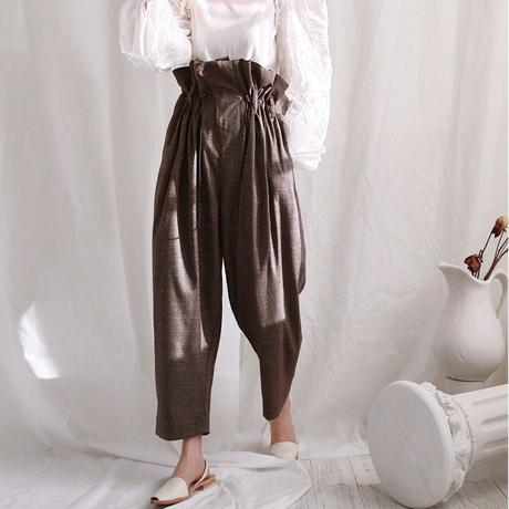 retro lattice waist pants