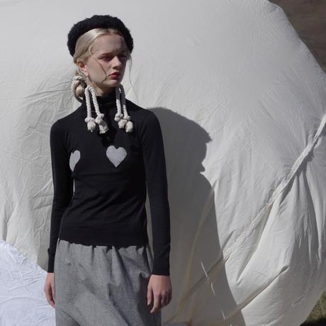 high-neck heart sweater