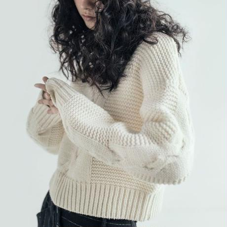 semi-high neck twist sweater