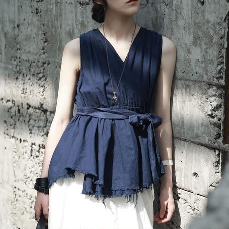 blue cut sleeveless shirt