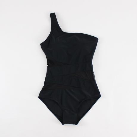 black mesh one-pieces swimsuit