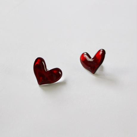 clear red heart earrings