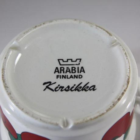 """【ヴィンテージ】 ARABIA """"Kirsikka"""" コーヒーカップ&ソーサー I-133/I-134-06262017"""