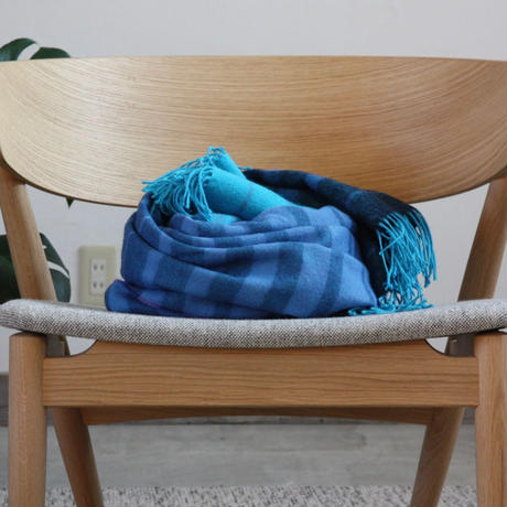 【新品】Baby Alpaca ベビーアルパカ 100% ブランケット デンマーク Danish Art Weaving社 ターコイズ/ブルー alpaca_443_12252018