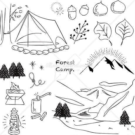 キャンプ 山 川 あしらい ペン画 手書き