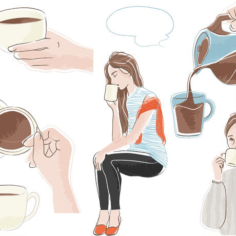 コーヒータイム シーン セット .epsデータ