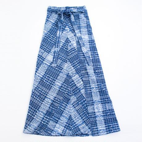 コルテスカートMaxi/インディゴ絣/2134(四角刺繍入り)