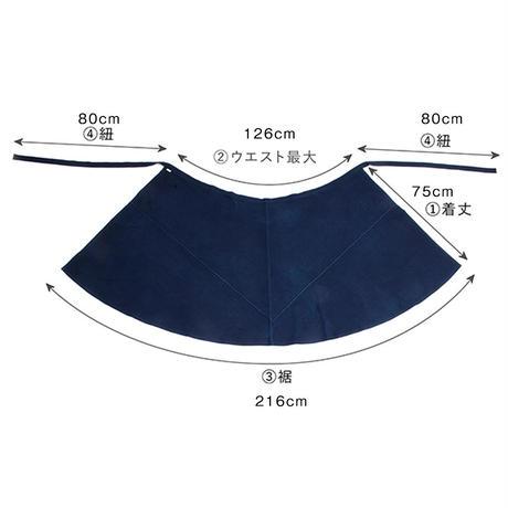 コルテスカートL/インディゴ縞刺繍/中227