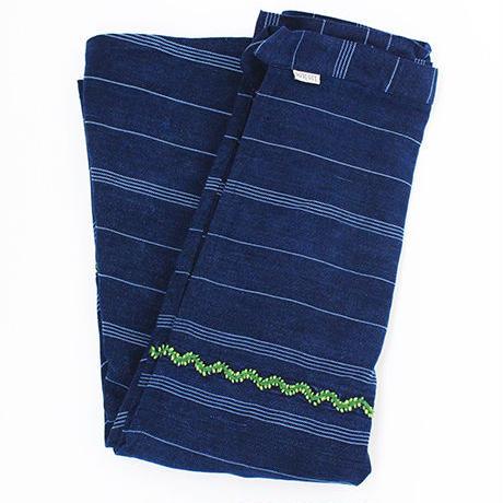 コルテスカート インディゴ縞刺繍
