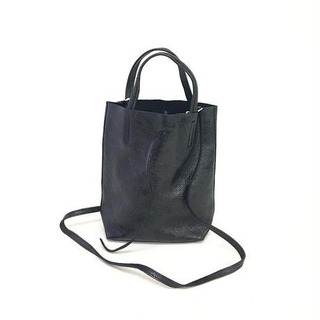 andrea cardone アンドレアカルドーネ 1083/m1 Leather bag sfoderata metal XS Black  トートバッグ-XS