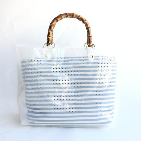 【Ämont Petit アモンプティ】85102 WH クリアトート ホワイト クリア素材 インナーポーチ付き バンブーハンドルバッグ