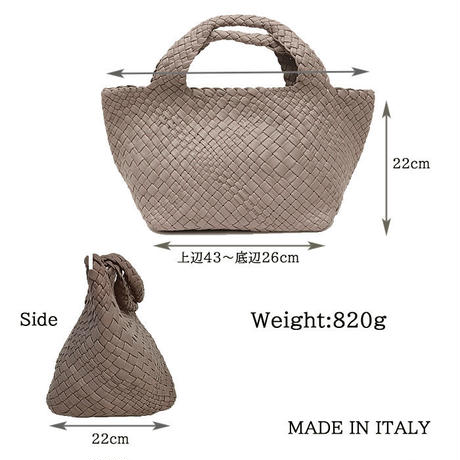 FALORNI ファロルニ F1854NO CHIUSURA WOVEN LEATHER BAGF330