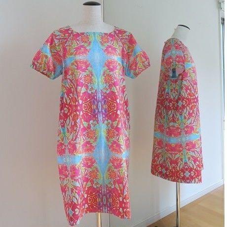 オリジナルワンピース Bi's Closet 半袖 ピンク&ライトブルー