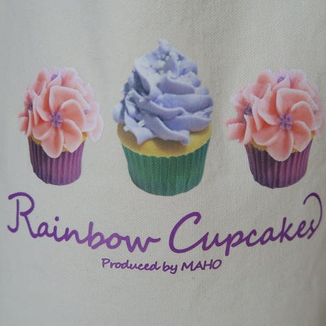 Bi's Japanese Gifts 帆布オリジナルトートバッグ縦型、Rainbow Cupcakes produced by Maho
