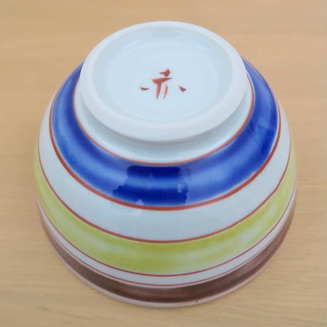 九谷焼、どんぶり(中) 縞・輪文(青)、 赤地 径