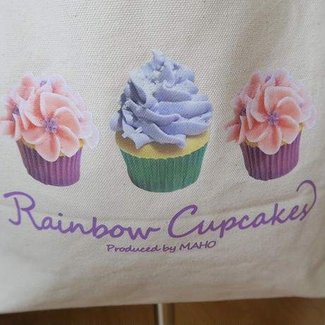 Bi's Japanese Gifts 帆布オリジナルトートバッグ横型、Rainbow Cupcakes produced by Maho